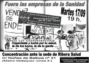 CAS Madrid_CARTEL Concentración RIBERA SALUD_17-09-2013