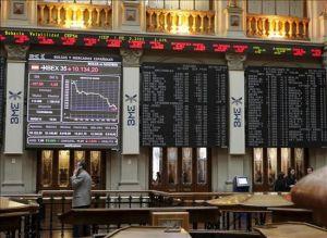 Vista del panel de la Bolsa de Madrid que refleja la evolución del Ibex35 (35 principales empresas españolas)
