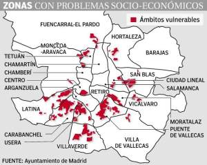 Áreas vulnerables en el municipio de Madrid