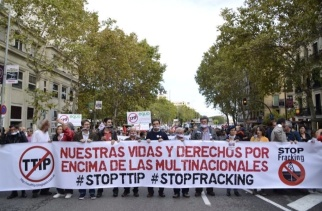 Manifestación contra el TTIP y el FRACKING en Madrid 11 de octubre de 2014