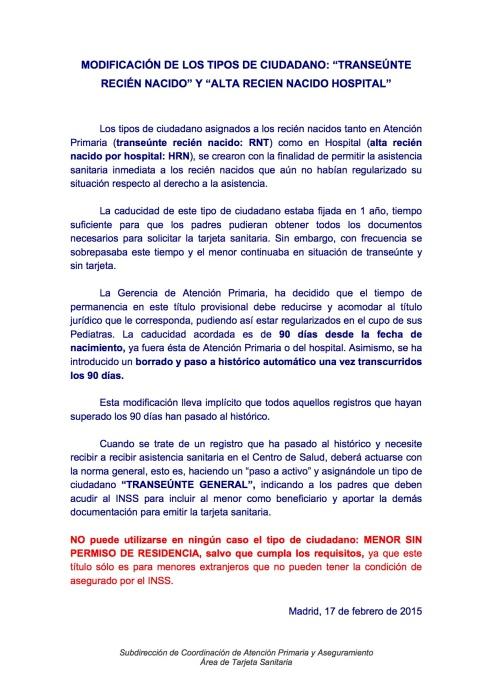 MODIFICACIÓN DE LOS TIPOS DE CIUDADANO RECIÉN NACIDOS