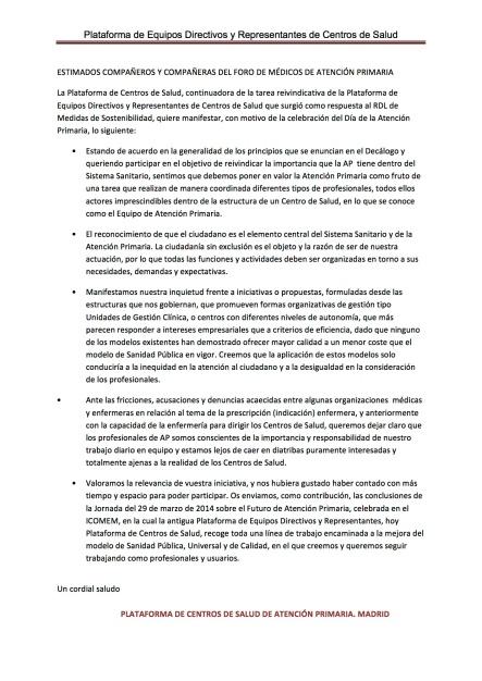 Documento para el Foro de Médicos de AP