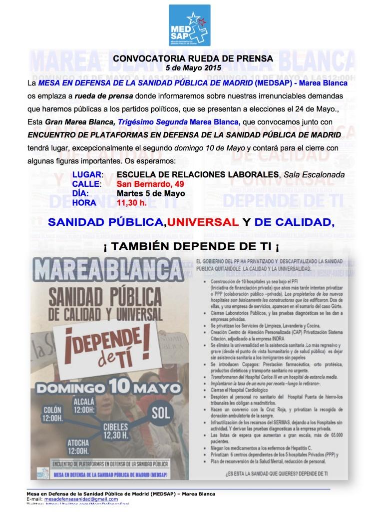 RUEDA DE PRENSA SOBRE 32 MB, 10-5-15