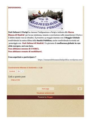 Coordinamento Milanese di Solidarietà: 15 Maggio 2016 , 44^ h12 MAREA BLANCA : 44 MAREA BLANCA CON EL MAYO GLOBAL