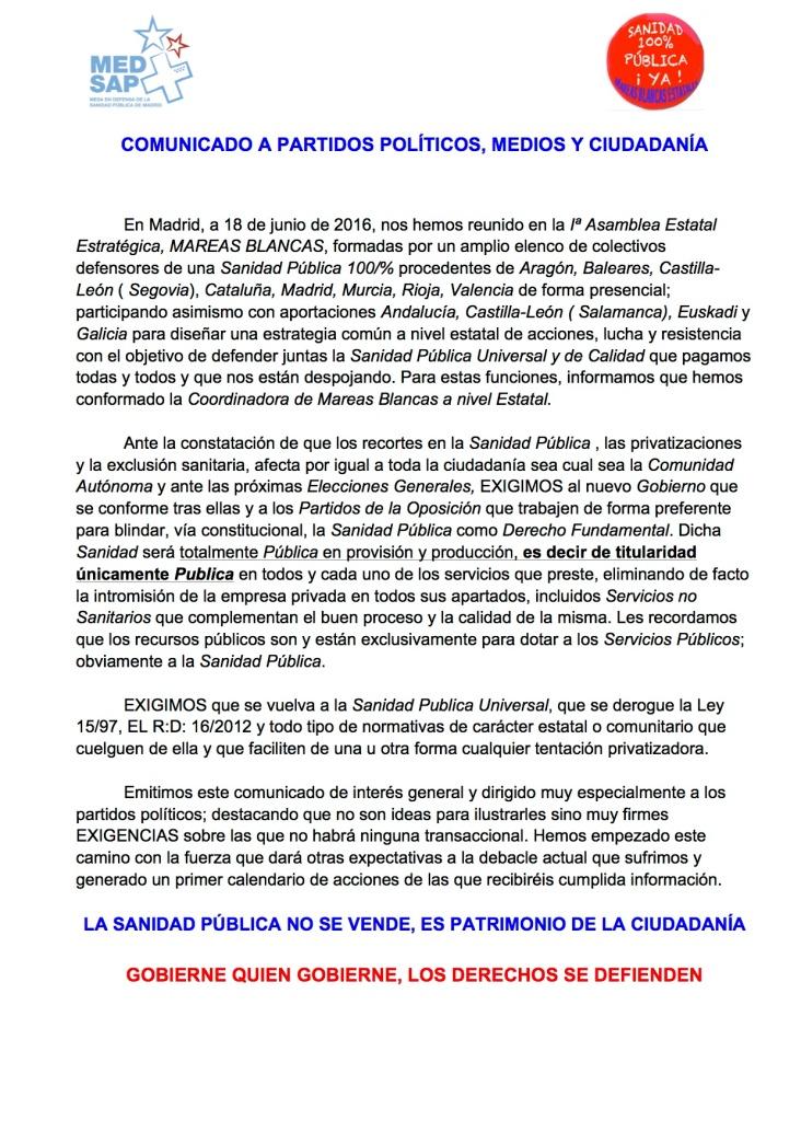 COMUNICADO A PARTIDOS POLÍTICOS, REDES , ETC