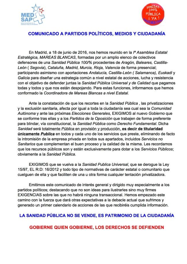 1 COMUNICADO A PARTIDOS POLÍTICOS, REDES , ETC