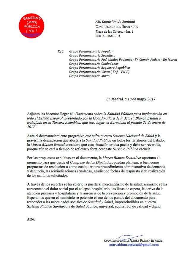 CARTA A COMISIÓN SANIDAD ENTREGA DOC