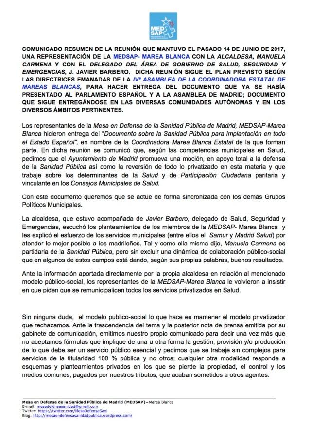 COMUNICADO RESUMEN REUNIÓN AYUNTAMIENTO 14 JUN-17