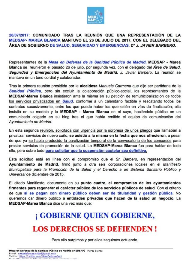 COMUNICADO REUNIÓN2 CON D. JAVIER BARBERO