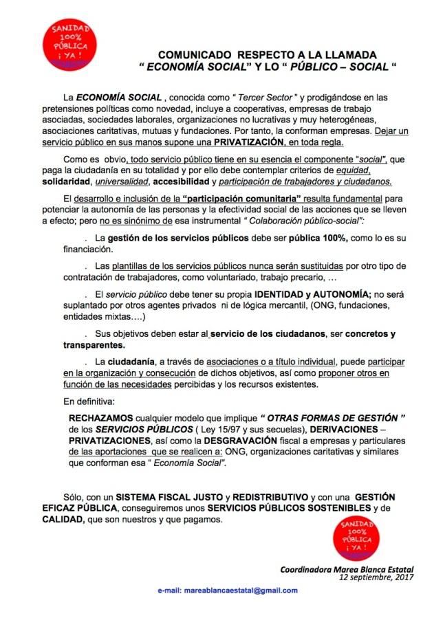 COMUNICADO MEDIOS Y REDES ECONOMÍA SOCIAL