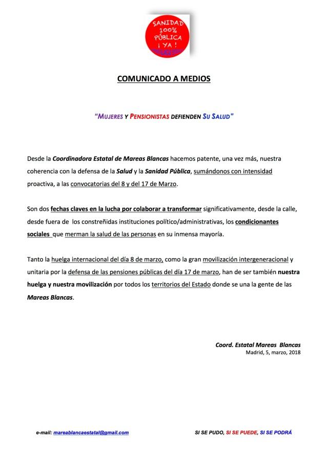 COMUNICADO A MEDIOS, MUJERES Y PENSIONISTAS