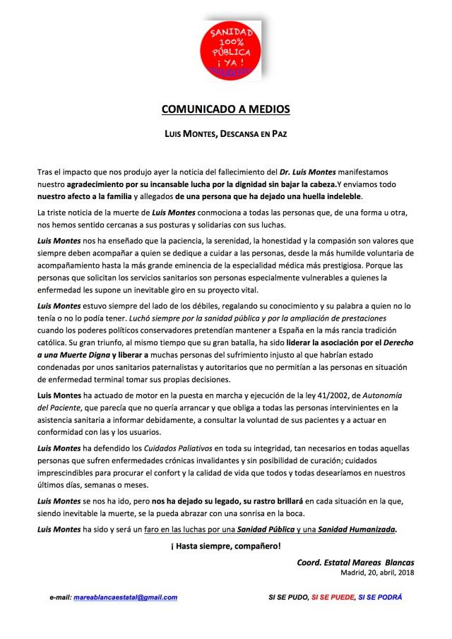 COMUNICADO ANTE FALLECIMIENTO DE LUIS MONTES