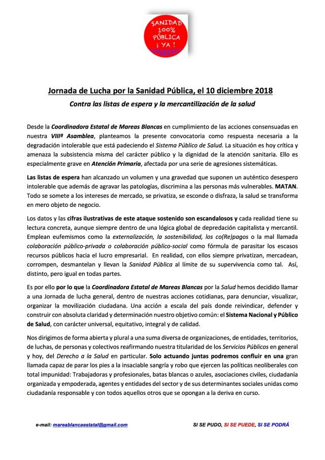 COMUNICADO LLAMADA 10 DICIEMBRE ult, 2018p1