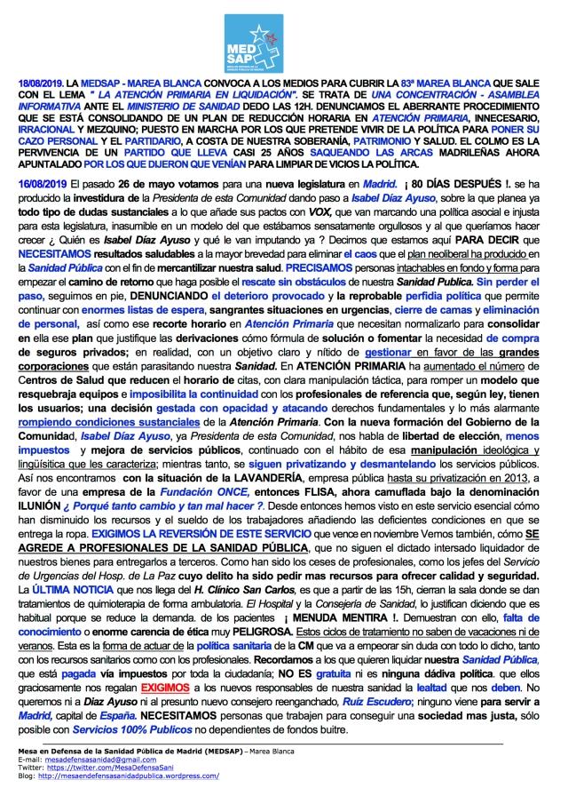 COMUNICADO ult. REDES 83 MAREA BLANCA