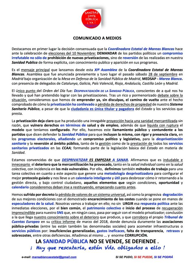 COMUNICADO A MEDIOS XI ASAMBLEA COORDINADORA ESTATAL MAREAS BLANCAS, 28 09 2019