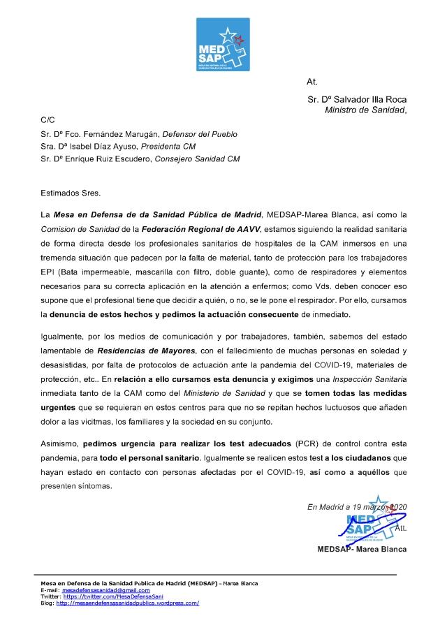 CARTA MINISTRO S. ILLA ETC. 19.3.2020