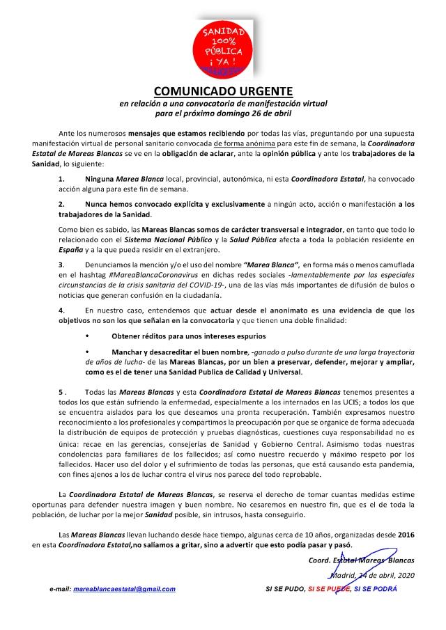 COMUNICADO URGENTE SOBRE CONVOCATORIA ON LINE DEL FIN DE SEMANA