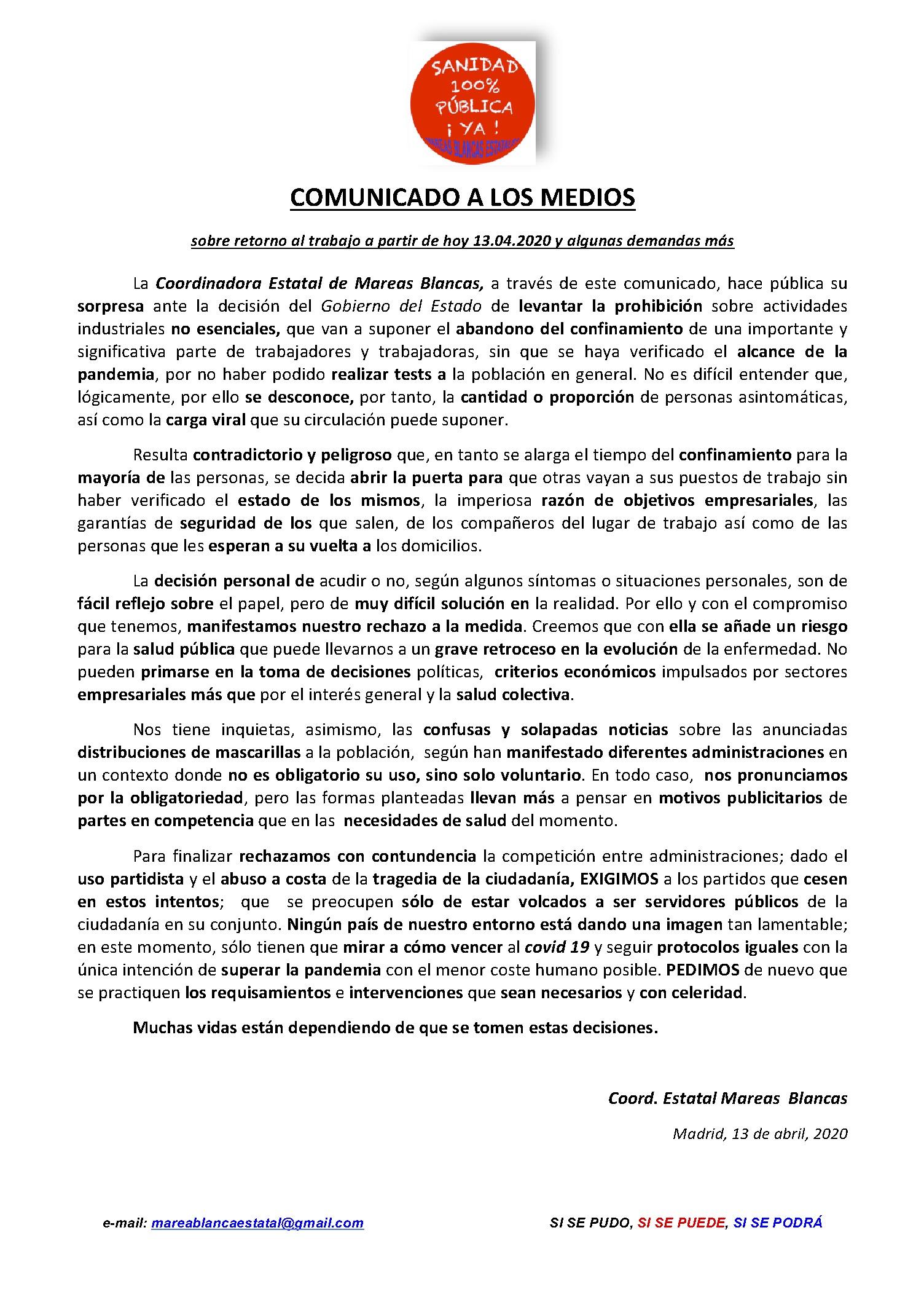 COMUNICADO2 A MEDIOS SOBRE INCORPORACION AL TRABAJO