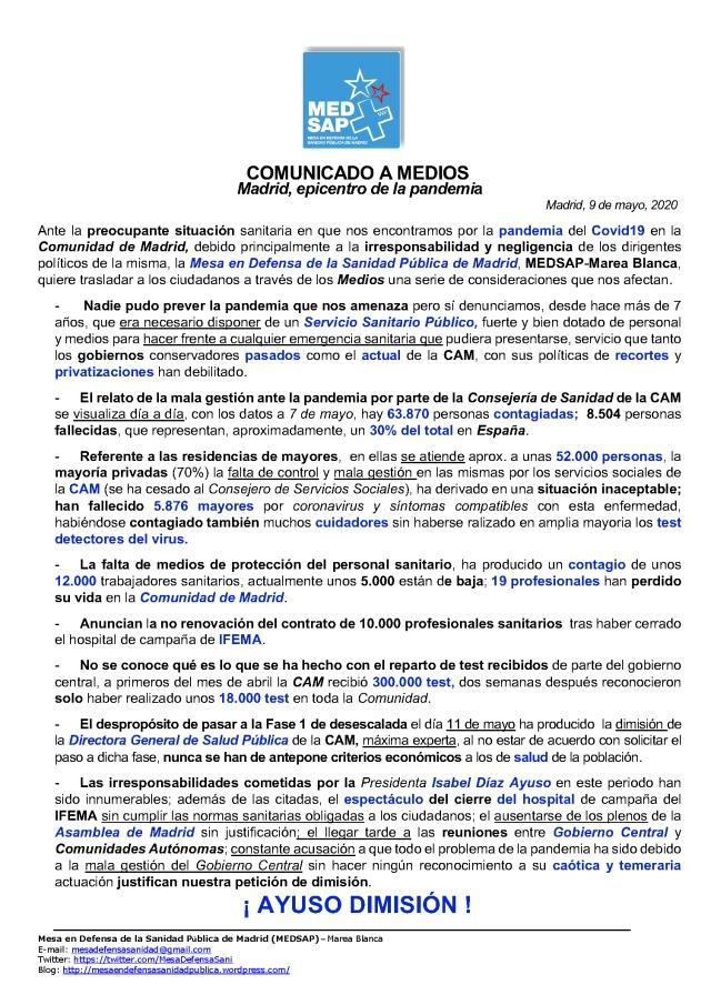 COMUNICADO REDES EN MEDIO DE PANDEMIA