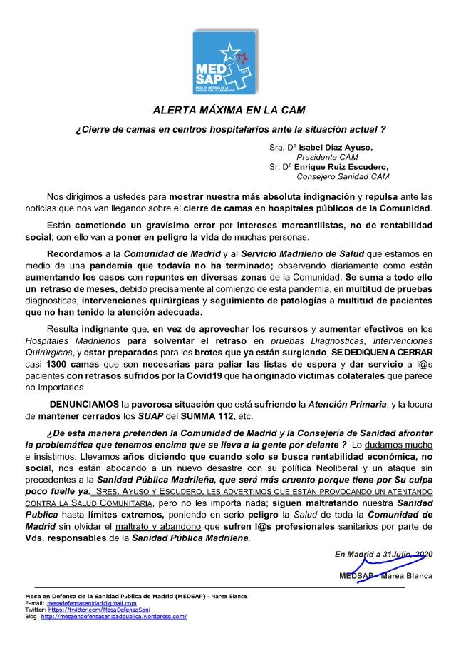 ALERTA GOB. MADRID CIERRE CAMAS 31.07.20